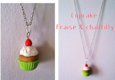 Collier Cupcake Fraise et Chantilly