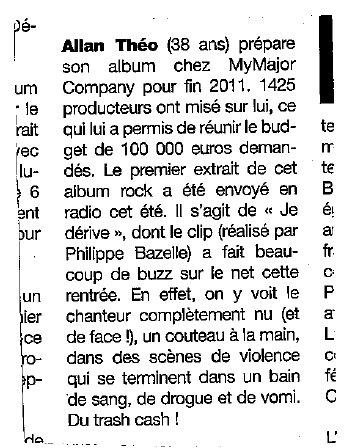 """Article consacré à Allan Théo dans le magazine """"Platine"""" d'octobre."""