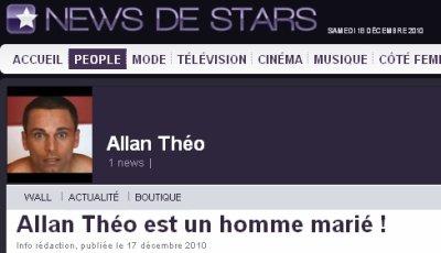 """Article consacré à Allan Theo sur le site """"Newsdestars"""""""
