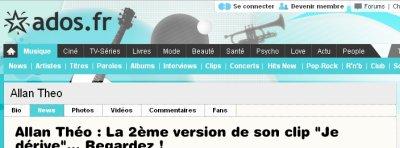 Article consacré à Allan Theo sur le site Ado.fr