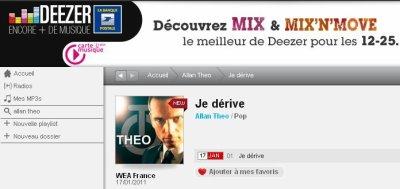 """""""Je dérive"""" en écoute sur Deezer à partir du 17/01/2011"""