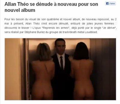 Sur le site Charts in France : Allan Théo se dénude à nouveau pour son nouvel album