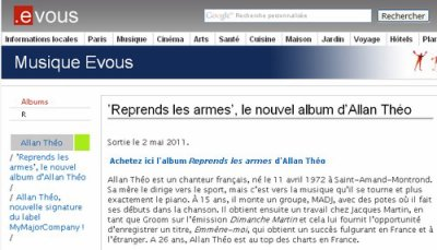 "Article sur le site ""EVous"" :  'Reprends les armes', le nouvel album d'Allan Théo"