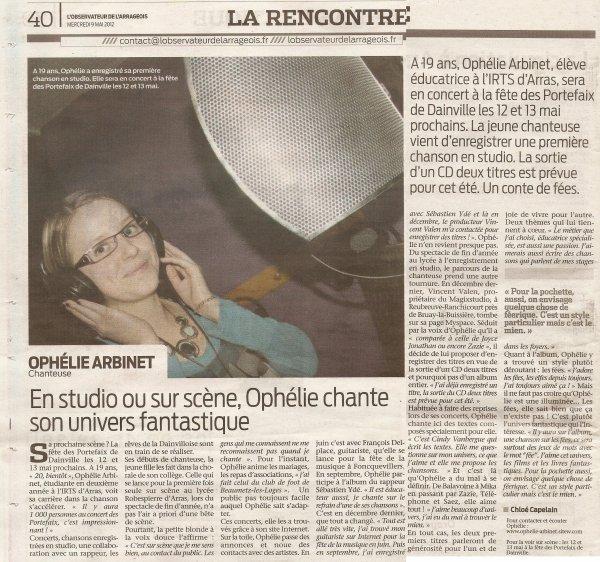 Article de l'Obervateur de l'Arrageois, mai 2012