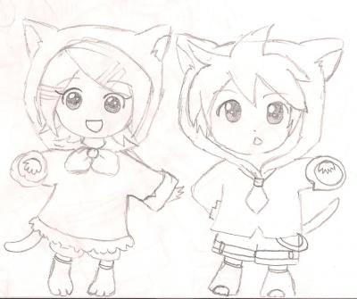 Rin et Len Chibi-neko