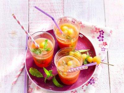 Gaspacho pastèque et melon façon Mojito