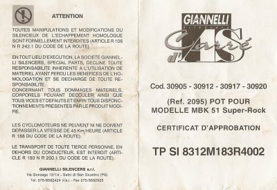 certificat d 39 homologation pot giannelli blog de potdemob. Black Bedroom Furniture Sets. Home Design Ideas