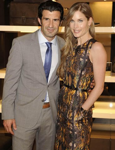 Football : Figo & Helen ouverture d'un Hugo Boss Madrid