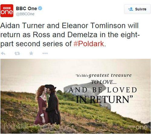 8 avril 2015  C'est confirmé par la BBC One ! La série Poldark aura le droit à une deuxième saison !