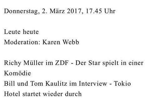 Bill et Tom seront en interview dans l'émission allemande Leute Heute a 17h45 sur Zdf, concernant la sortie de Dream Machine