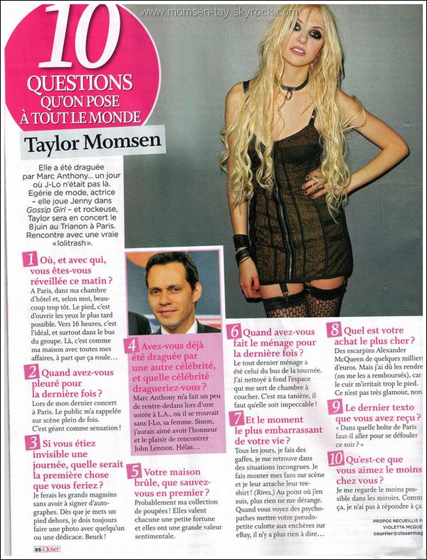 .Taylor en interview dans le dernier Closer !