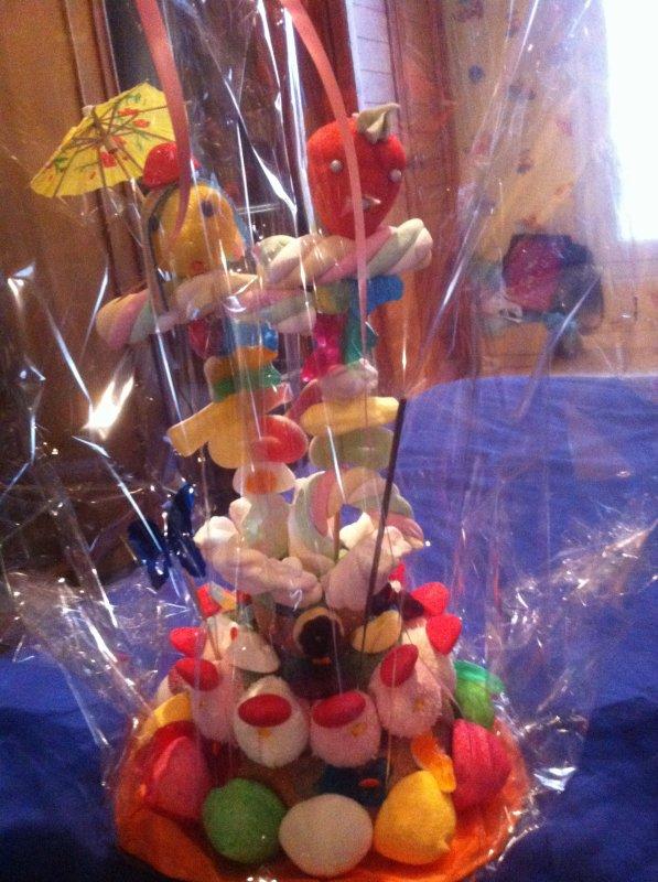gâteaux de bonbon festif et son feu d artifice petit model  fait main