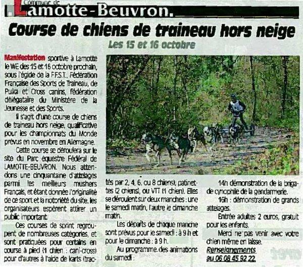 """Parution dans le journal """"Le Petit Solognot"""" du 5 octobre"""