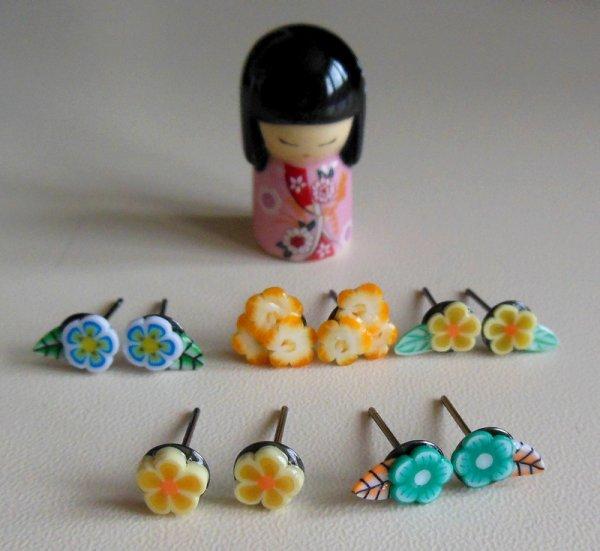 Boucles d'oreilles thème : fleurs
