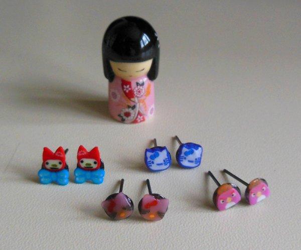 Boucles d'oreilles thème : Mascottes