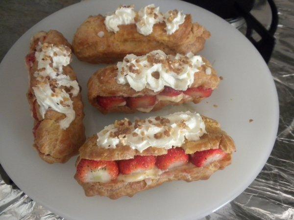 204ème recette : Eclairs fraises et crème pâtissière