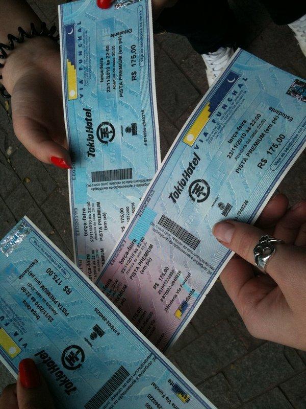 Les tickets pour le concert à São Paulo au Brésil.