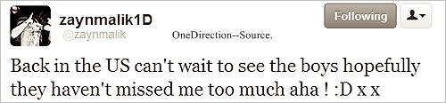 05 Mars: Zayn est de retour aux États-Unis! ♥