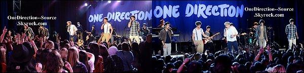 """• 01 Avril :  - Le groupe pendant une performance au """"The el Rey Theatre """".   - Le groupe à Los Angeles au  """" Vevo go show Fast-Food''."""