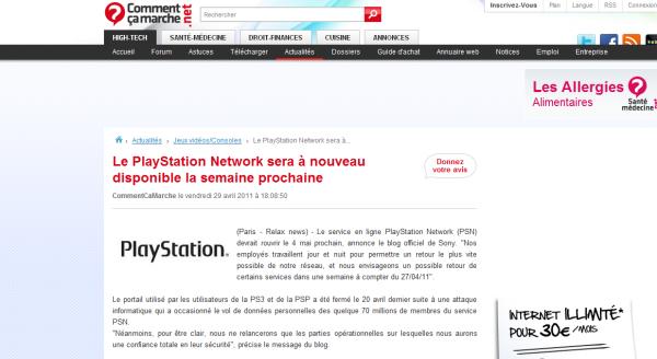 Le PSN news !!!!!!