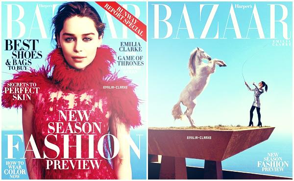 •••••Gorgeous Emilia en couverture du magasine américain «Harper's Bazaar» pour le mois de Juin :