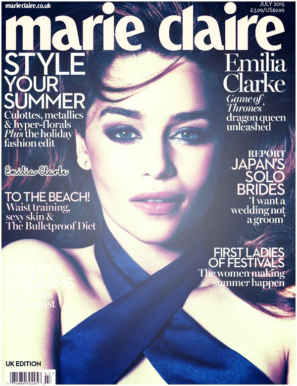 •••••Flawless Emilia en couverture du magasine britannique «Marie Claire» pour le mois de Juillet :