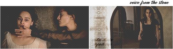 ______________________________________________________ 12.03.2017 ◎ BTS The One Enfin des petites nouvelles de miss Clarke qui se fait très discrète ces derniers temps … Le 12 mars, Emilia a été aperçue sur le tournage du nouveau spot publicitaire du parfum The One par Dolce & Gabbana à Naples (IT). La belle deviendra officiellement le nouveau visage de la marque à partir de septembre 2017. Nous devrions donc attendre encore un peu pour voir le résultat final … Il est évident qu'elle porte une perruque puisqu'elle a désormais les cheveux courts et une frange. Cela fait plaisir en tout cas d'avoir un petit aperçu ! Pour compléter l'article, je vous joins également 02 nouveaux stills, plutôt angoissant, de Voice From The Stone. Rendez-vous sur le site officiel du film pour avoir 03 vidéos featurettes du projet !