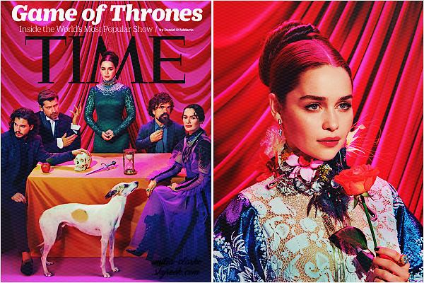__________________________________________________________ COVER & SHOOT ◎ Time Ce qui est -aussi – bien avec la reprise de Game of Thrones, c'est que l'on a pleins de petites news de la belle Emilia ! En compagnie de ses co-stars Kit Harington, Nicolaj Coster-Waldau, Peter Dinklage et Lena Headey, découvrez la couverture du magasine Time pour le mois de Juillet 2017. Je vous joins aussi un portrait réalisé à l'occasion que je trouve particulièrement divin ! Elle y est tout en beauté dessus puis j'adore son regard/outfit, bref parfaite ! Qu'en pensez-vous ? + interviews : Emilia / cast de Game of Thrones
