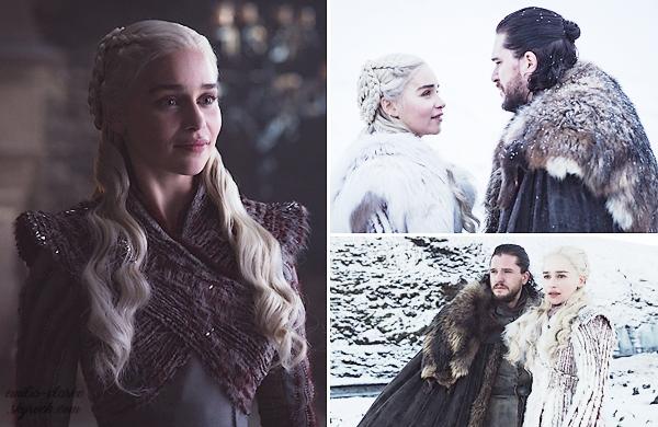 • promotional pictures ▬ Game of Thrones : 2019 : A deux mois de la prochaine et dernière saison de la fameuse série, découvrez de nouvelles photos promotionnelles de Daenerys, en compagnie de Jon Snow (Kit Harington). A défaut d'avoir un trailer, ces photos font bien plaisir et nous languissent pour la suite ! J'aime bien la grande, je trouve Daeny très jolie avec sa petite mimique. Qu'en pensez-vous ? Avez-vous hâte pour la suite ?