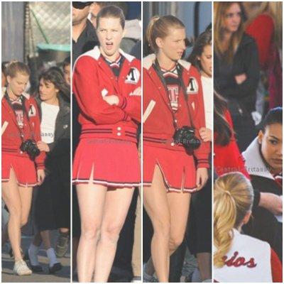 .  Heather sur le tournage de l'épisode 10 de la saison 3 de Glee. .