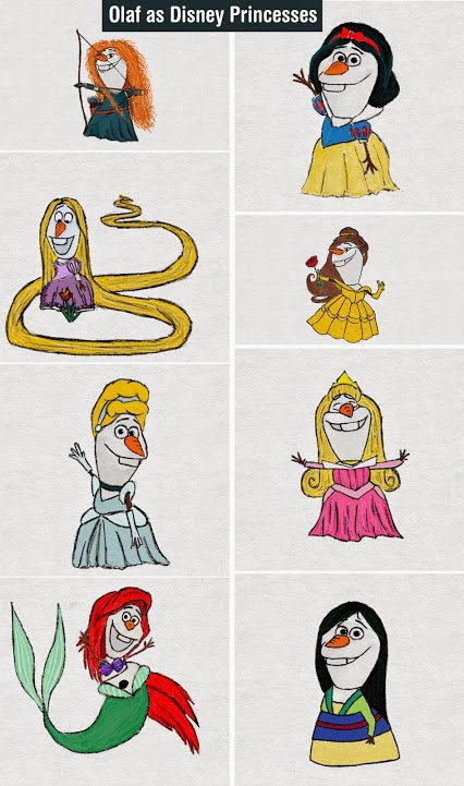 Olaf disney princesses