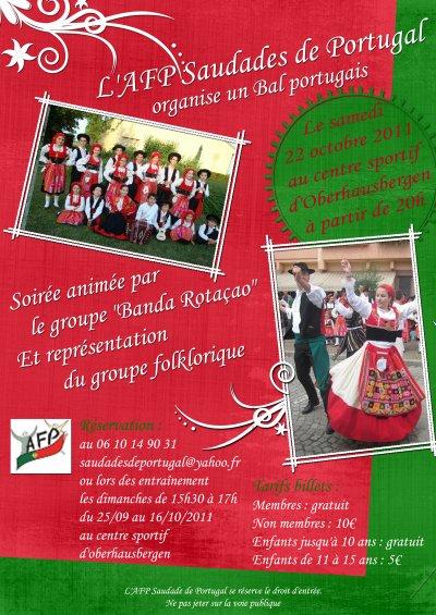 L'AFP SAUDADES DE PORTUGAL ORGANISE UNE FETE PORTUGAISE LE 22 OCTOBRE 2011