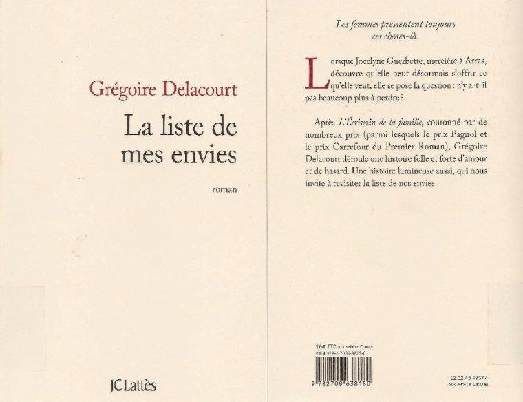 La liste de mes envies Grégoire Delacourt MYLYPASAVA