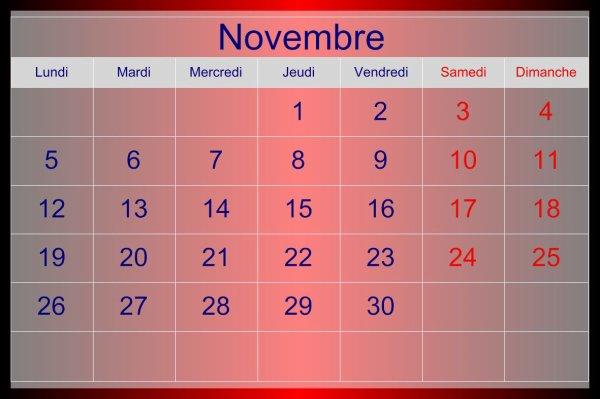 MOIS DE NOVEMBRE 2012