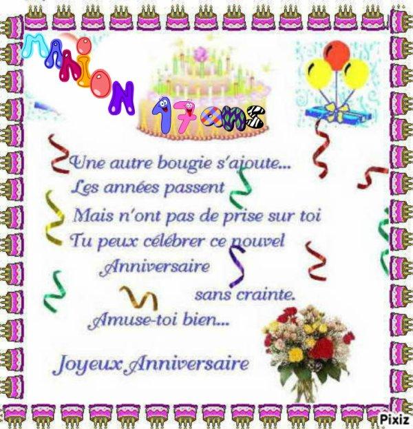 Un Tres Joyeux Anniversaire A Mon Amie Marion Stitch Du Blog Super