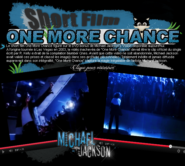 News : 22 Novembre 2010 : One More Chance (le short film) + Claude Kelly évoque Hold my hand.