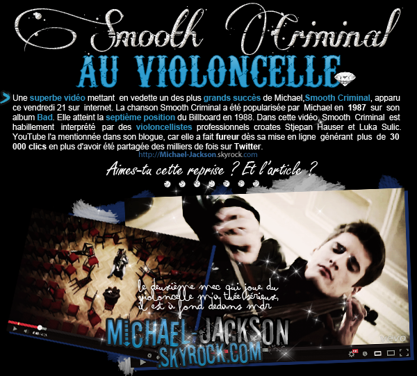 Vidéo : Smooth Criminal au violoncelle