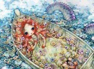 La poupée de cire de l'autre monde , elle flotte sur l'eau attendant qu'on revienne la chercher . Les fleures sont en train de fâner , elles perdent de leur couleurs , autant que la poupée perd de son souffle qui devient si froid . . . . .
