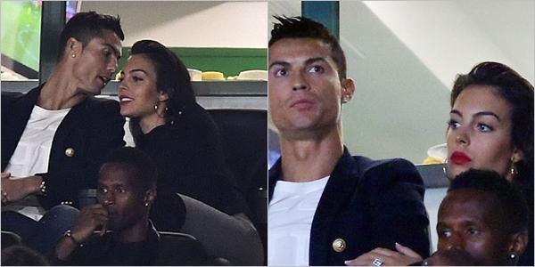 16.09.17 - Georgina et Cristiano dans les tribunes du match du Sporting Lisbon .