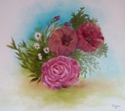les pivoines et la rose