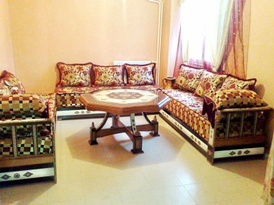 Salon Damas Black avec tissu rouge & marron - Salons Marocains76