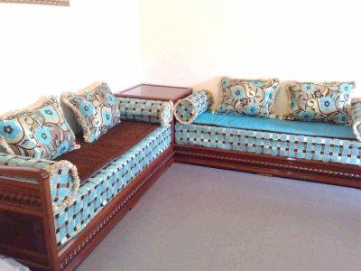 Salon italien avec tissu marron & turquoise - Salons Marocains76