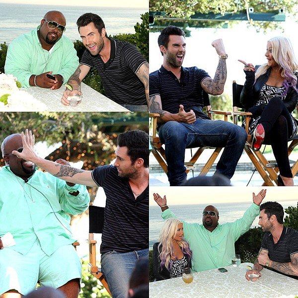 * 9 Août 2012 // Candids // Adam en compagnie de Cee Lo Green, Christina Aguilera et Blak Shelton à la NBC Press Junket à LA  *