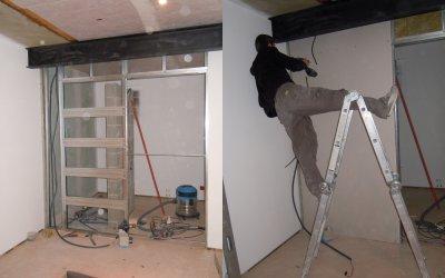 Montage de la cloison de la salle d 39 eau l 39 atelier de tif 39 n et jp - Pose porte placo ...