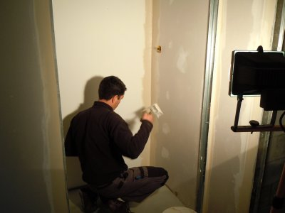 Enduit de la salle d'eau, du WC et du couloir