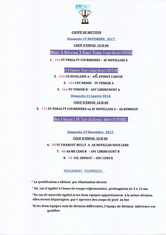 COUPE DE SECTEUR 2me TOUR ET 1/4 FINAL