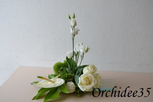 Lysianthus, anthurium, rose, oeillet green,