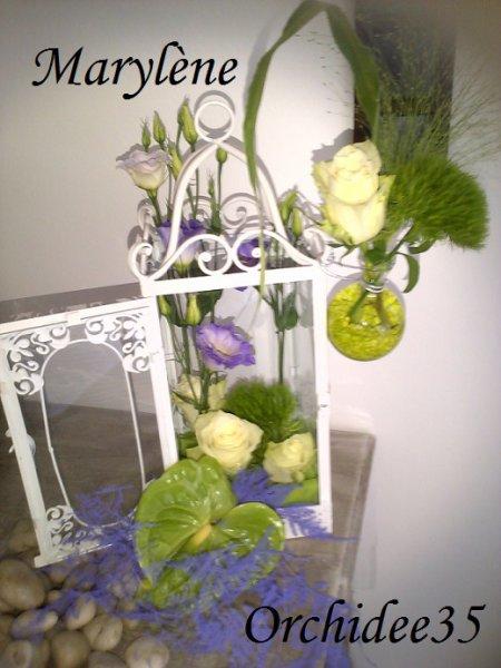 lysianthus, roses, oeillet green, anthurium