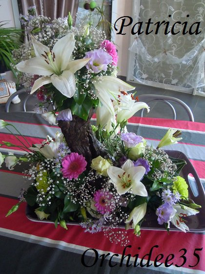 lys, lysianthus, germini, oeillet, gypsophile, roses