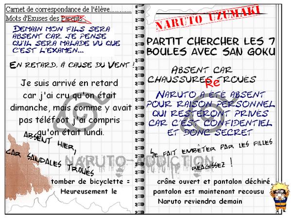 Carnet de Correspondance de Naruto.  Blog music ♫